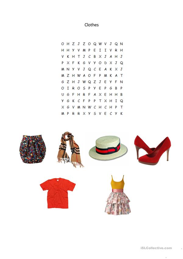 CLOTHES - WORDSEARCH
