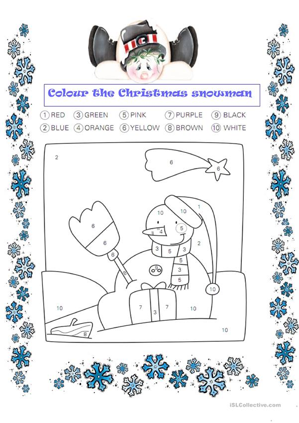 Colour the Christmas snowman