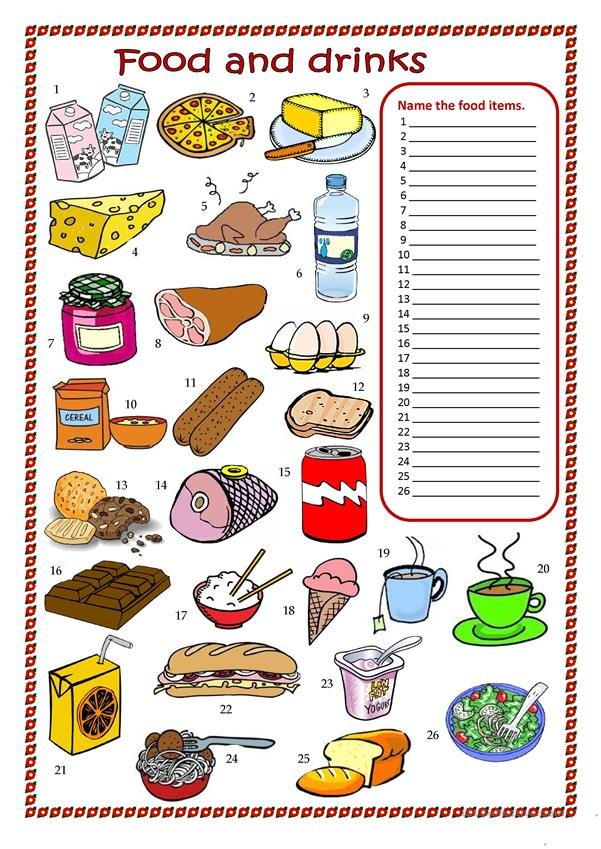 Food and drinks worksheet.