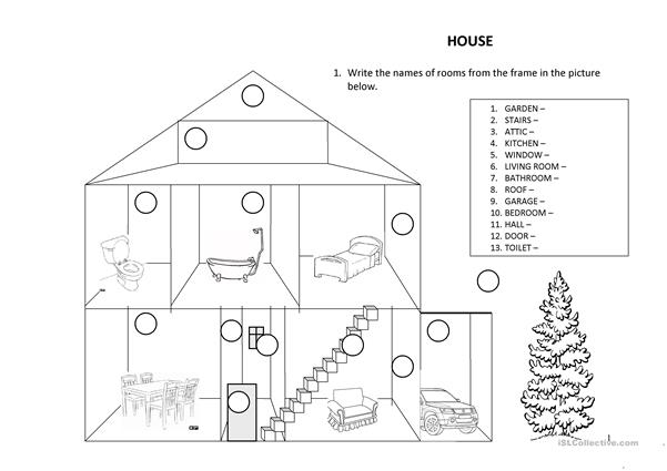 House; there is/are; preposition of place