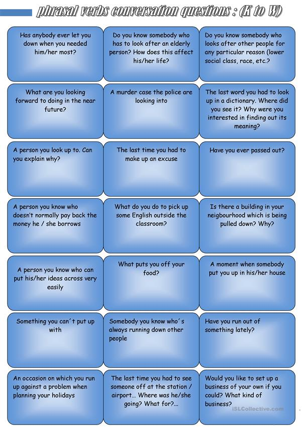 PHRASAL VERBS CONVERSATION QUESTIONS (K to  W)