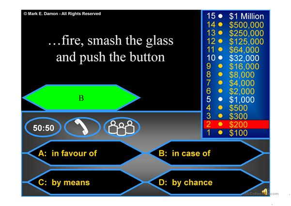 Prepositions - Who wants to be a millionaire