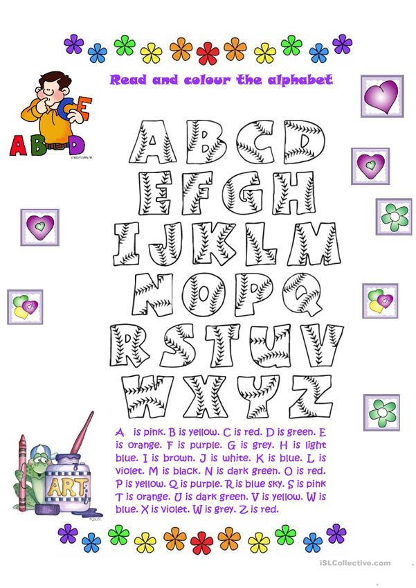 Read and colour the alphabet