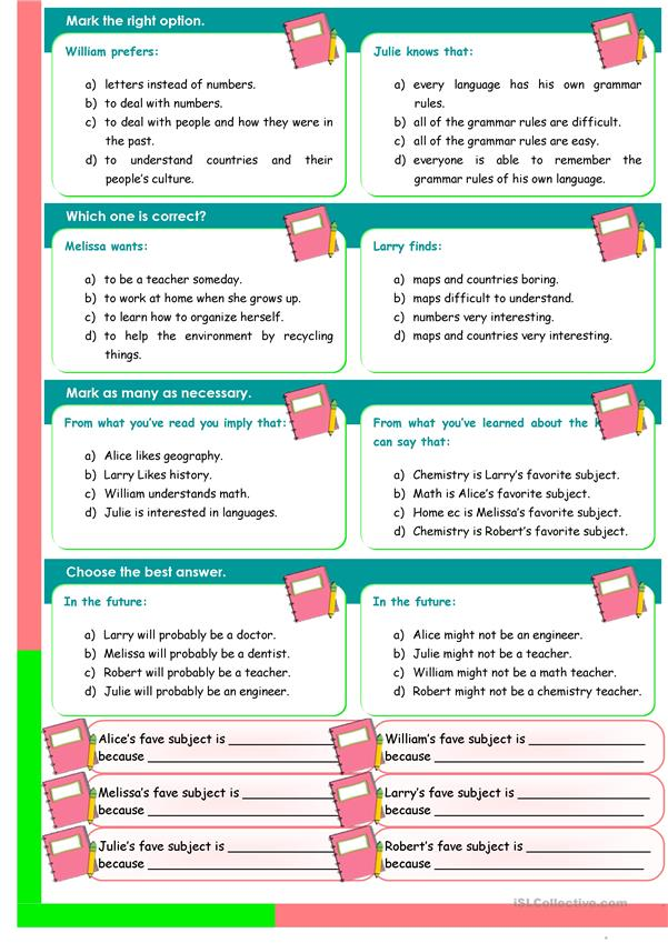 School Subjects - reading comprehension + convrsation (3 pages)