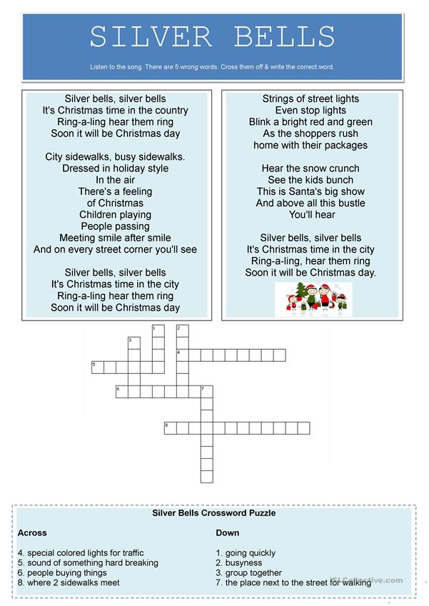 Silver Bells Song Worksheet