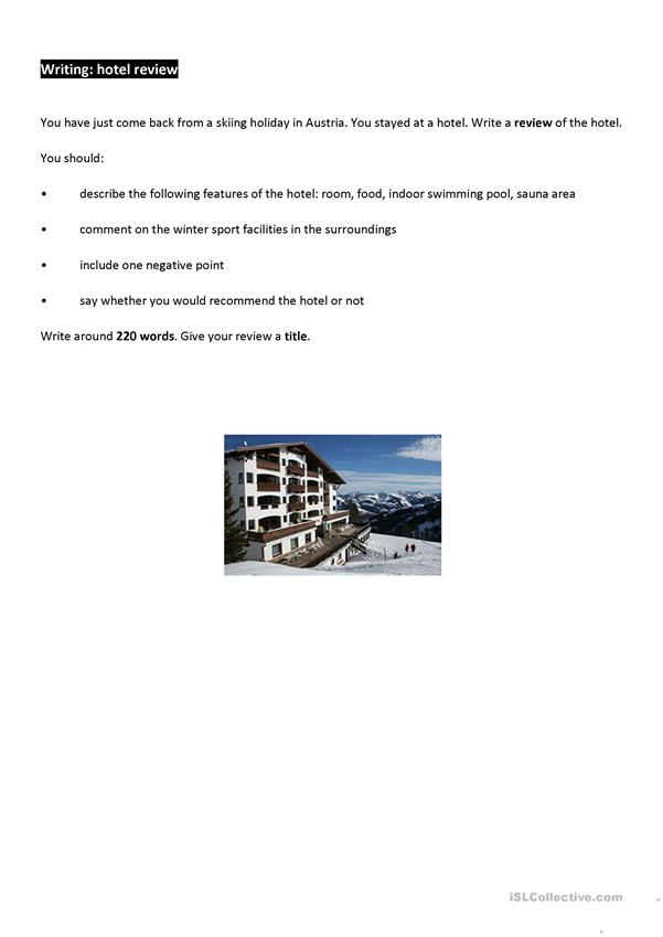 Writing task - hotel review