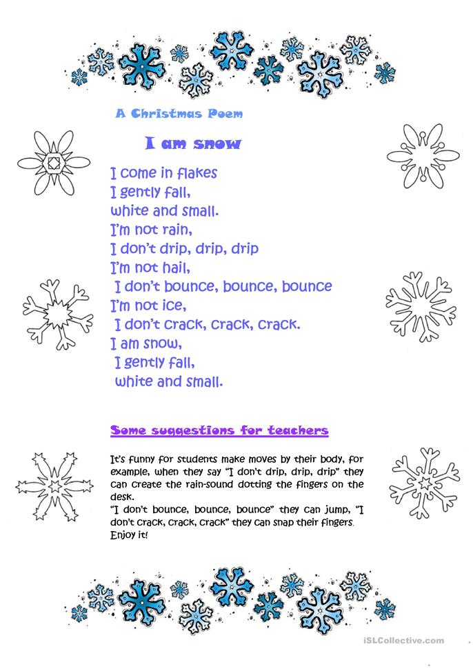 A christmas poem i am snow worksheet free esl printable