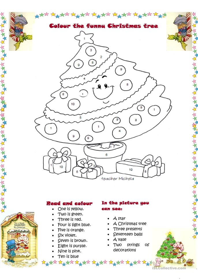 Colour the funny Christmas tree - ESL worksheets