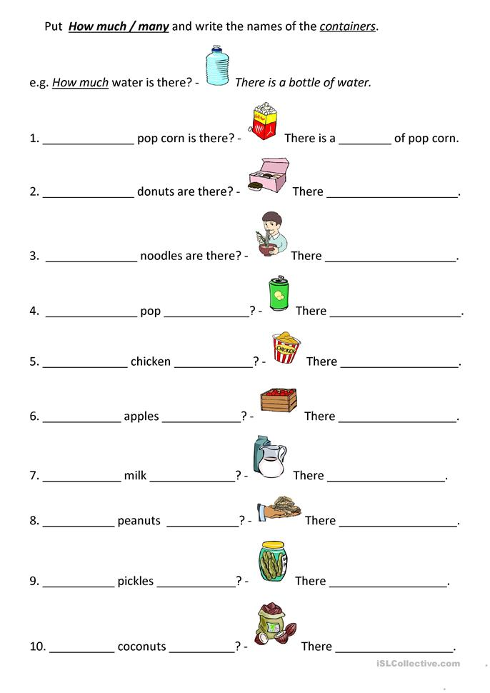 How much / How many + Containers worksheet - Free ESL ...