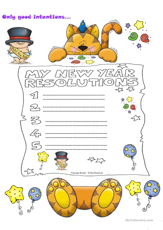 My new year resolutions - ESL worksheets