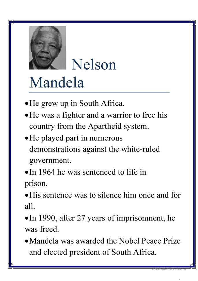 ... Mandela worksheet - Free ESL printable worksheets made by teachers