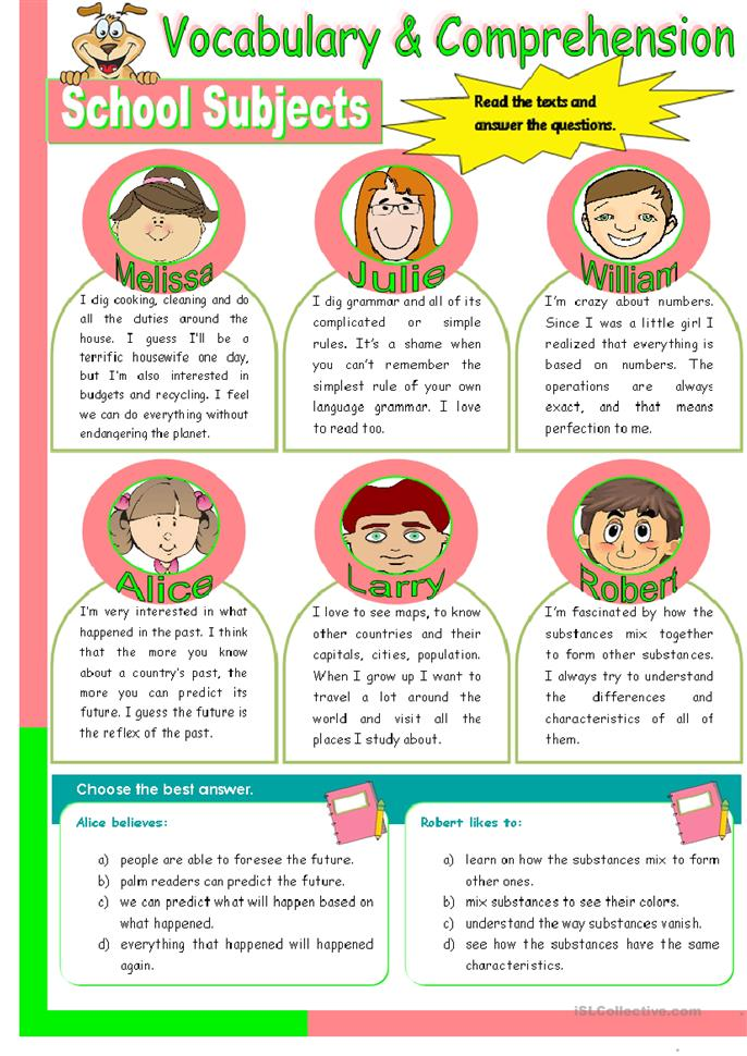 School Subjects - reading comprehension + convrsation (3 pages ...