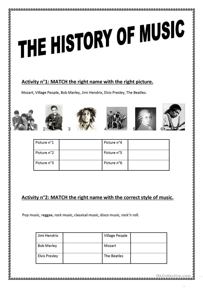 Free Printable Worksheets History : The history of music worksheet free esl printable