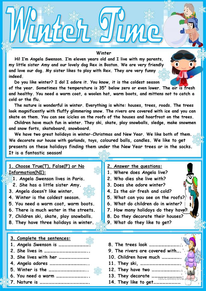Winter Time - ESL worksheets