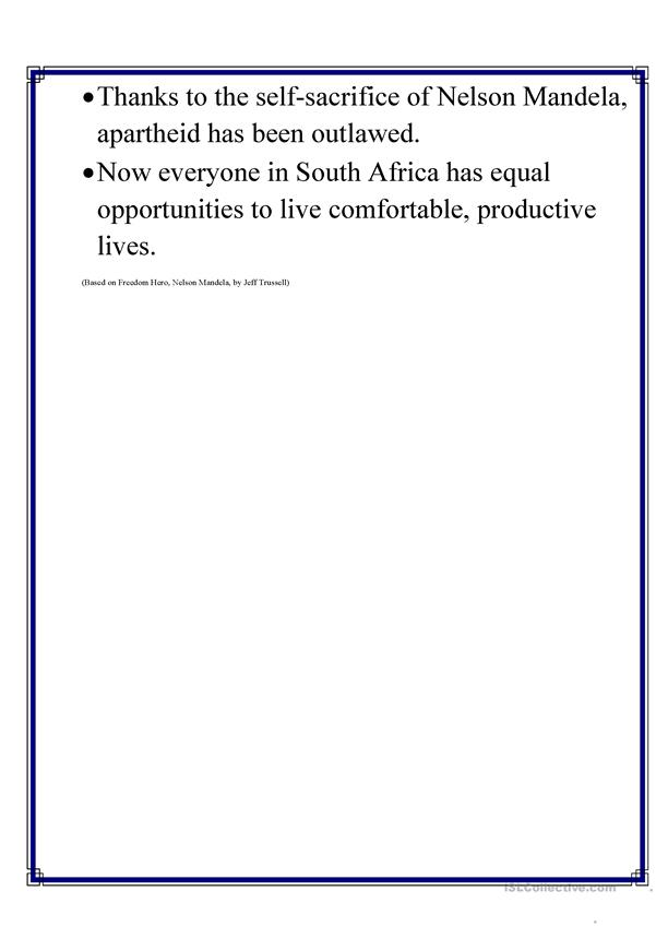 This is a photo of Ambitious Nelson Mandela Worksheet