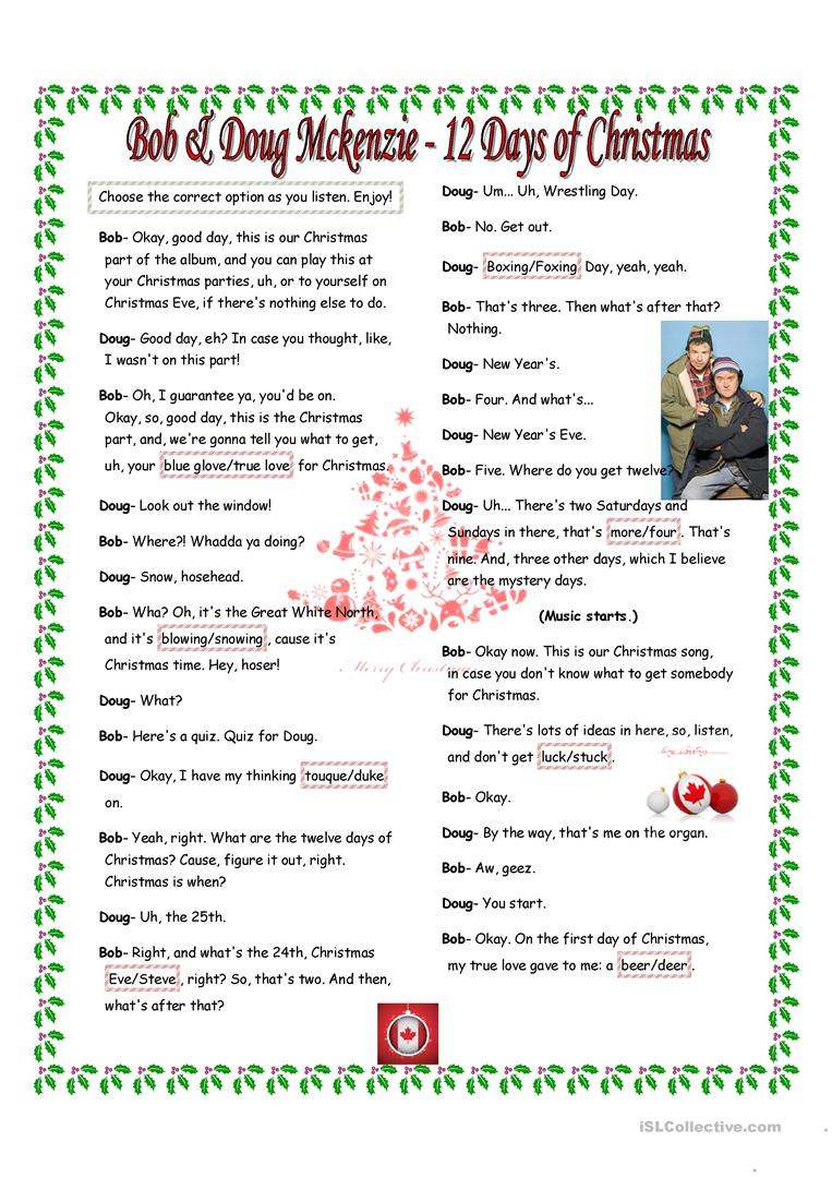 Bob And Doug Mckenzie 12 Days Of Christmas.12 Days Of Christmas By Bob Doug Mckenzie English Esl