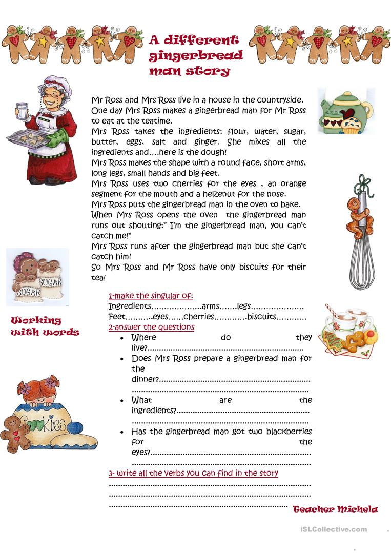 photo relating to The Gingerbread Man Story Printable called A alternative gingerbread male tale - English ESL Worksheets