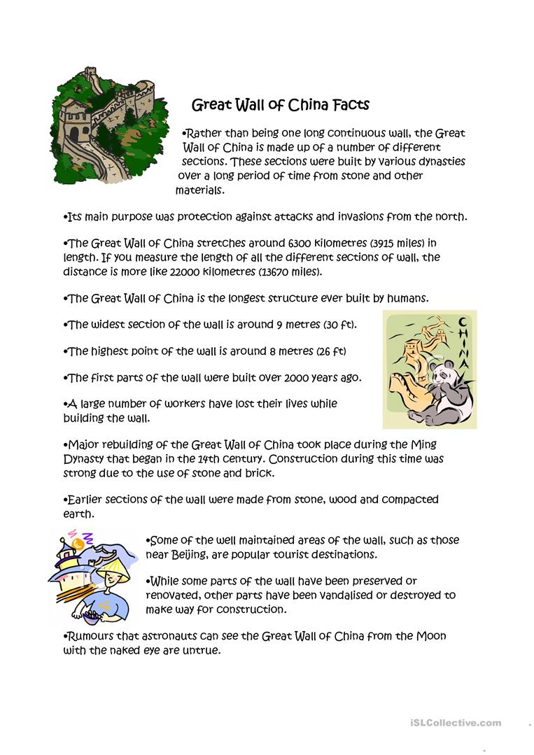 great wall of china facts worksheet free esl printable worksheets made by teachers. Black Bedroom Furniture Sets. Home Design Ideas