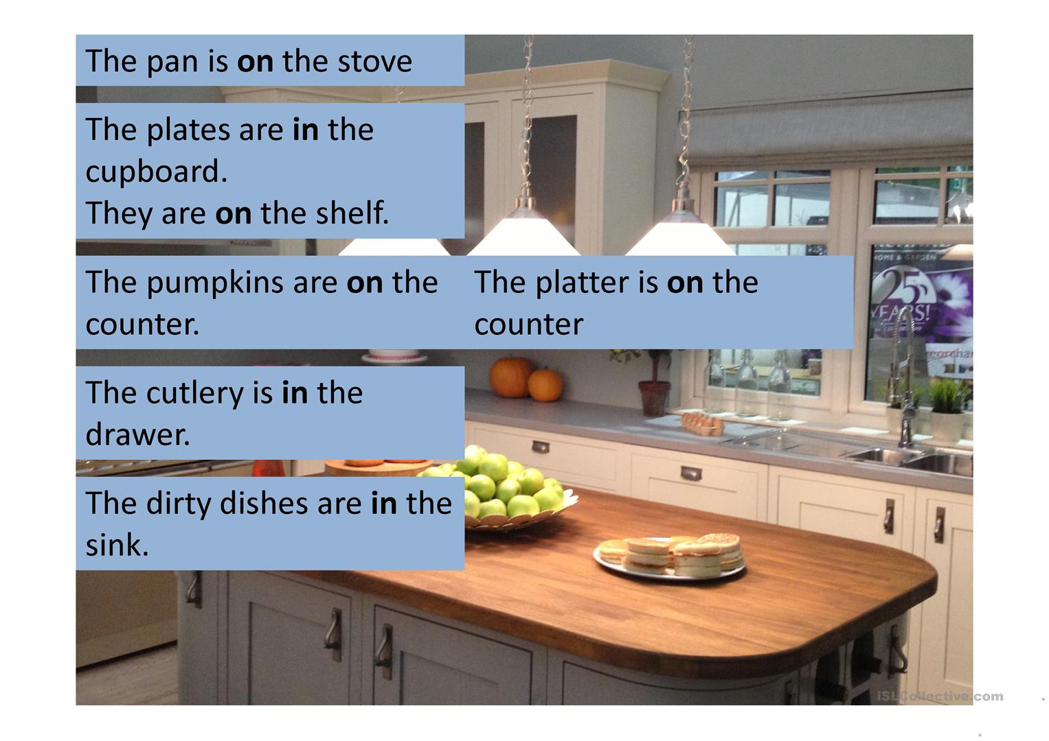 Kitchen with Prepositions worksheet - Free ESL projectable ...