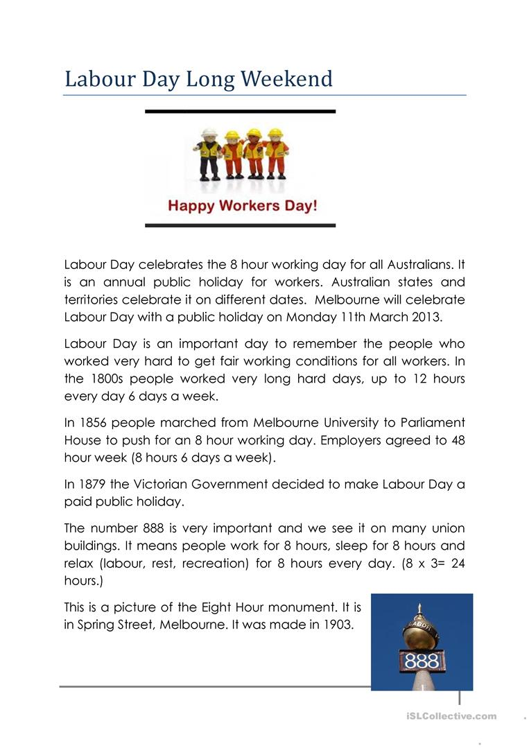 - Labour Day In Australia - English ESL Worksheets For Distance