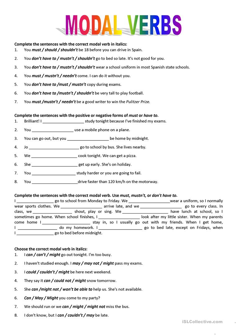 Modal verbs - English ESL Worksheets