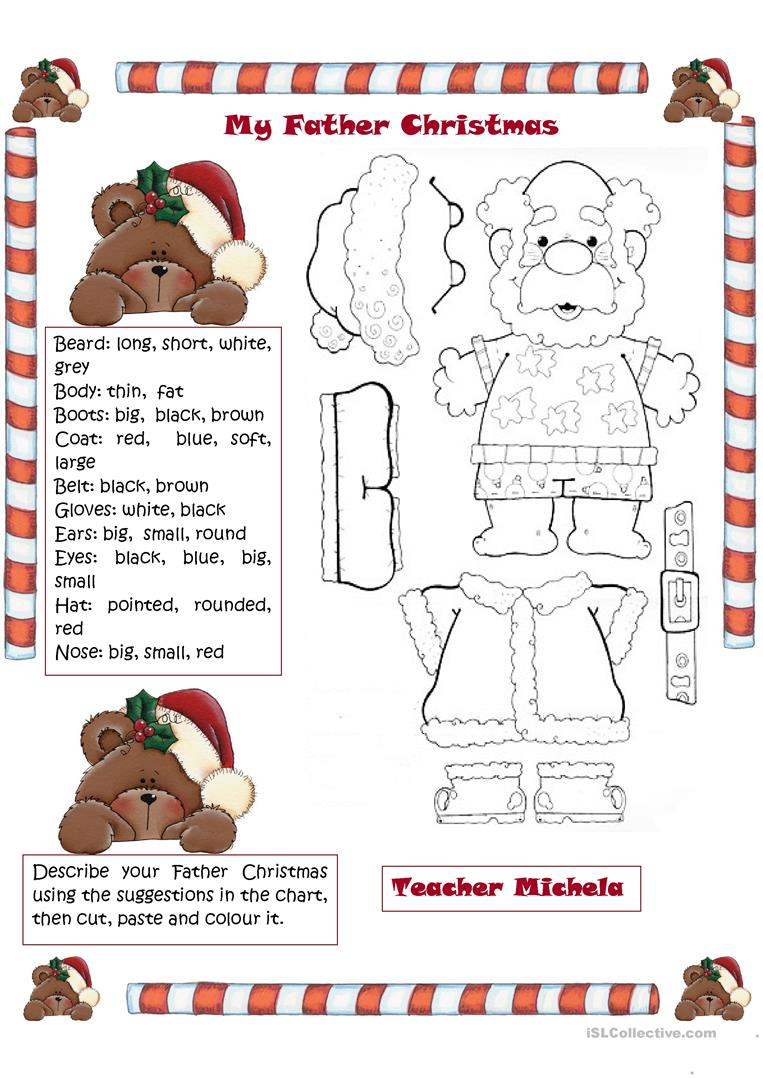 13 FREE ESL Father Christmas worksheets