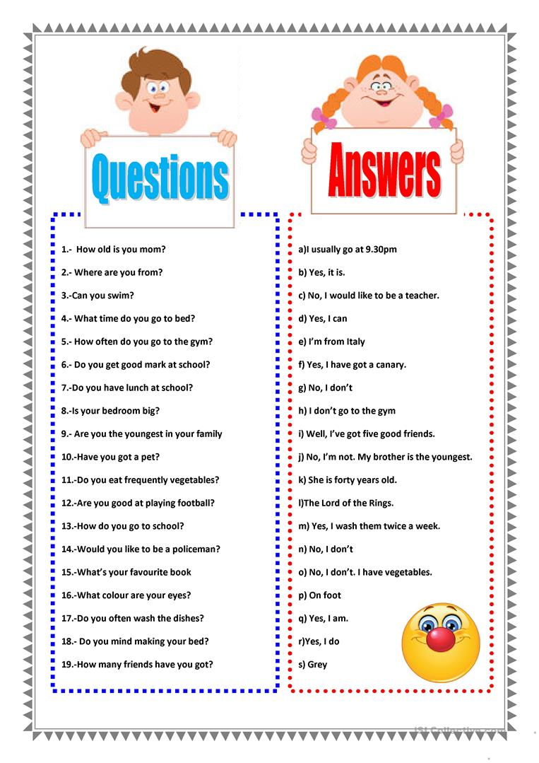 questions and answers worksheet