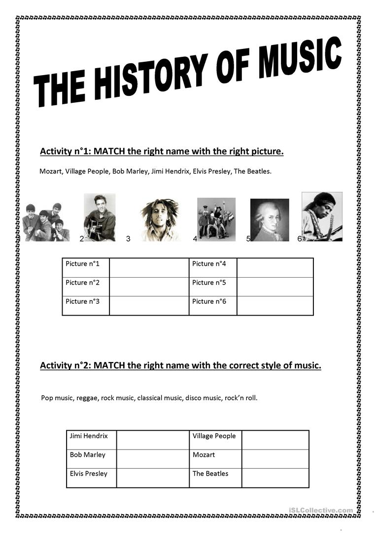 THE HISTORY OF MUSIC - English ESL Worksheets