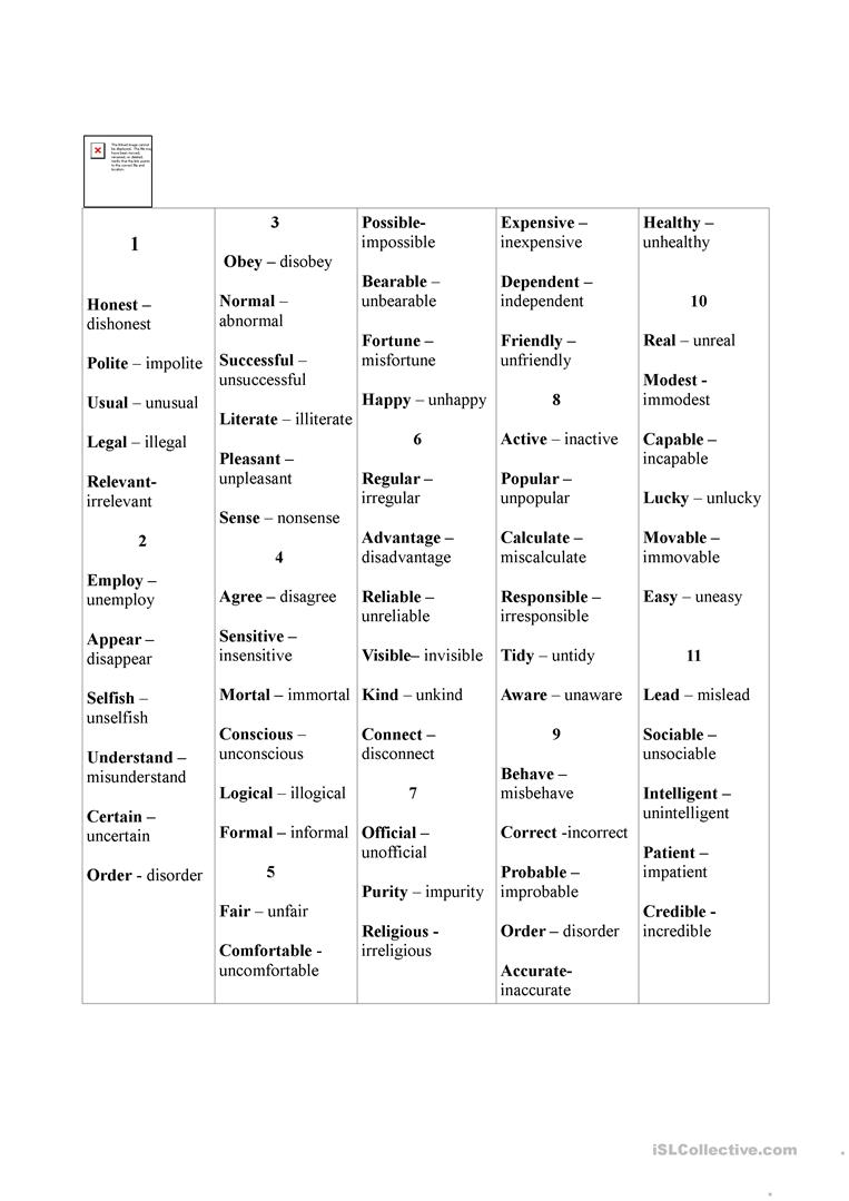 The word formation game( 2) Negative prefixes.. worksheet - Free ...