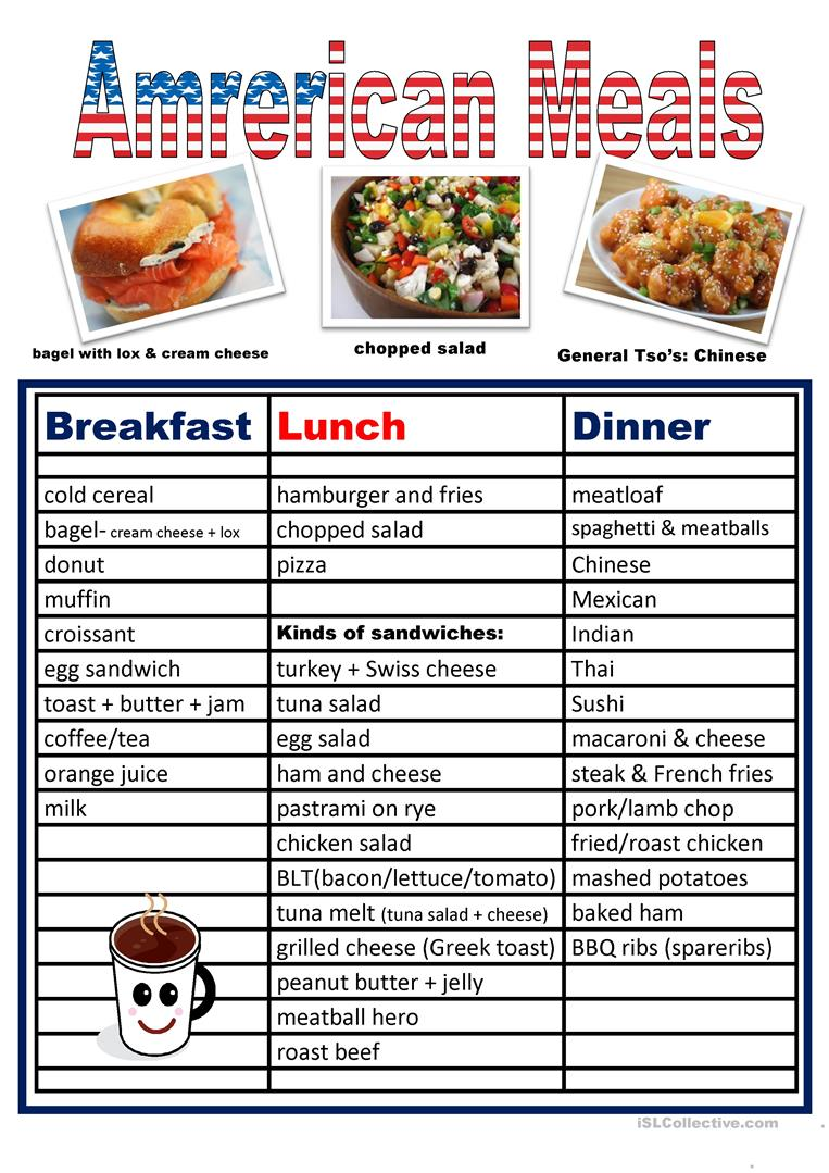Typical American Meals worksheet - Free ESL printable ...