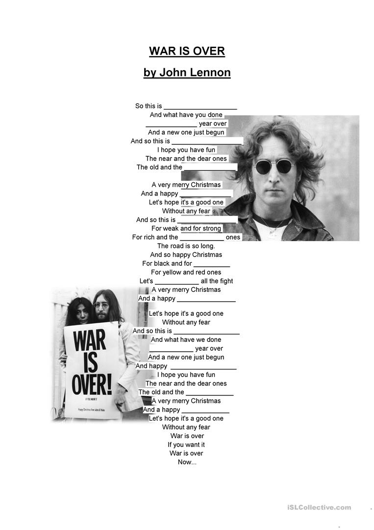 War Is Over by John Lennon worksheet - Free ESL printable worksheets ...