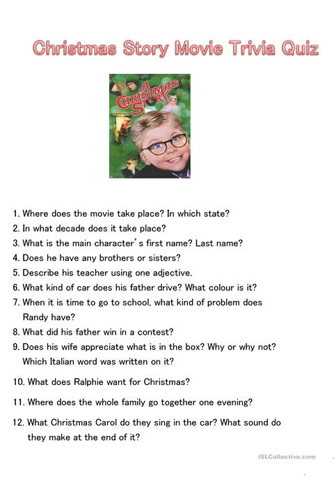 graphic relating to Christmas Movie Trivia Printable referred to as Xmas Tale Video clip Trivia Quiz - English ESL Worksheets