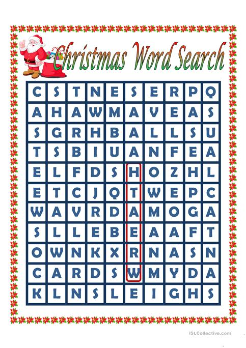 Christmas Word Search worksheet - Free ESL printable worksheets made ...