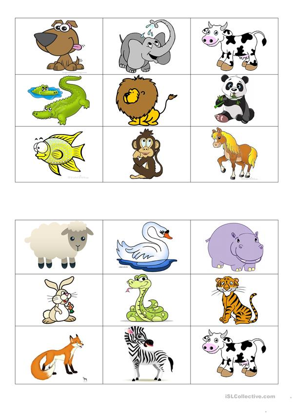 Animals bingo cards