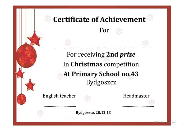 Christmas certificate