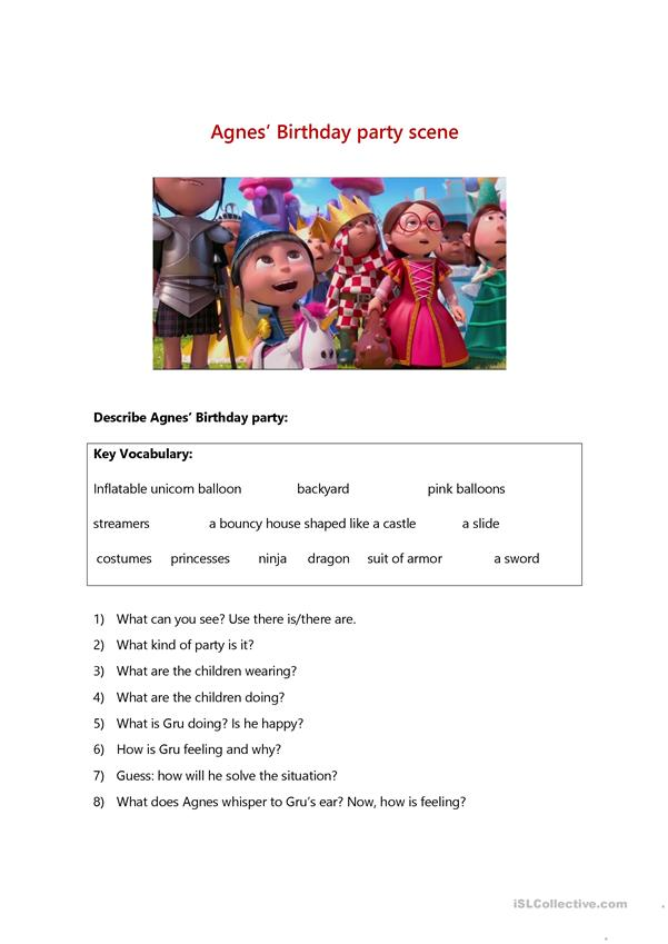 Despicable Me 2 movie worksheet