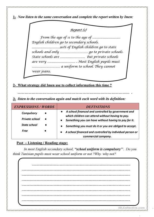 English Secondary School - English ESL Worksheets For Distance Learning And  Physical Classrooms