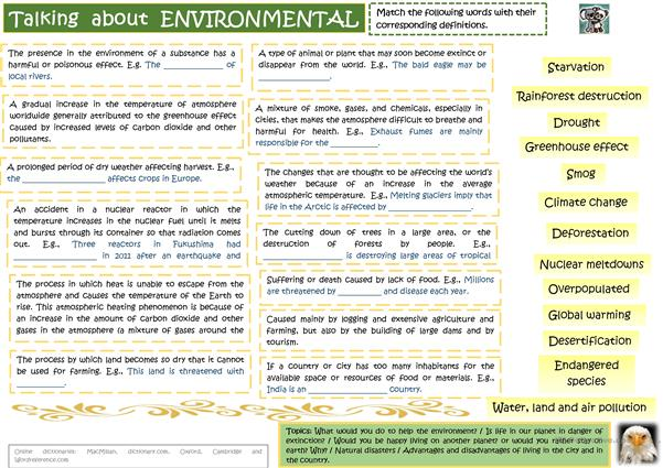 Environment and Problems - Vocabulary