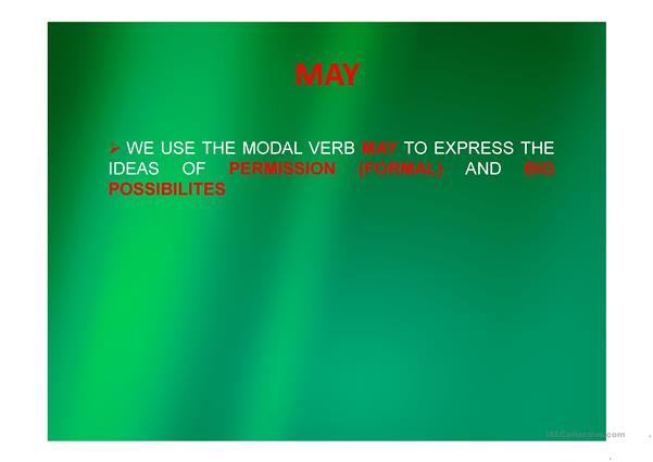 Modal Verbs- Can and May