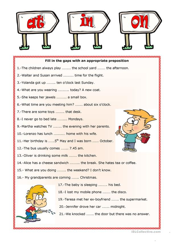 PREPOSITIONS IN, AT, ON