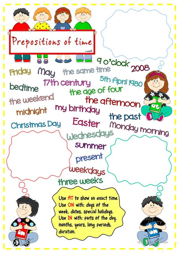 Prepositions of time * in , on, at * matching
