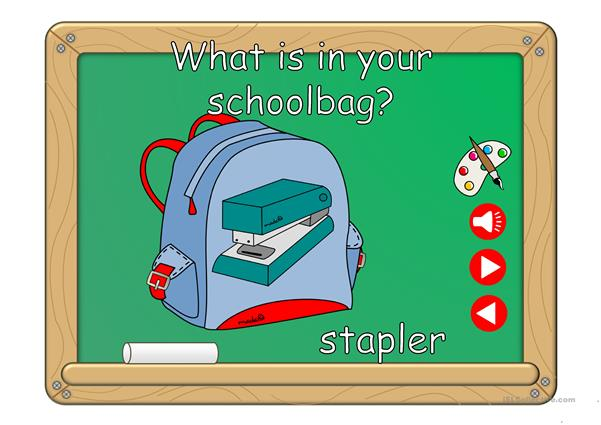 What´s in your schoolbag? - vocabulary *with sound*