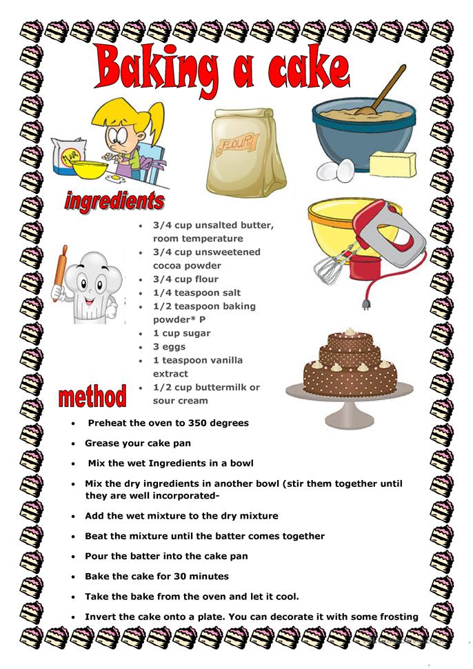 BAKING A CAKE worksheet - Free ESL printable worksheets ...
