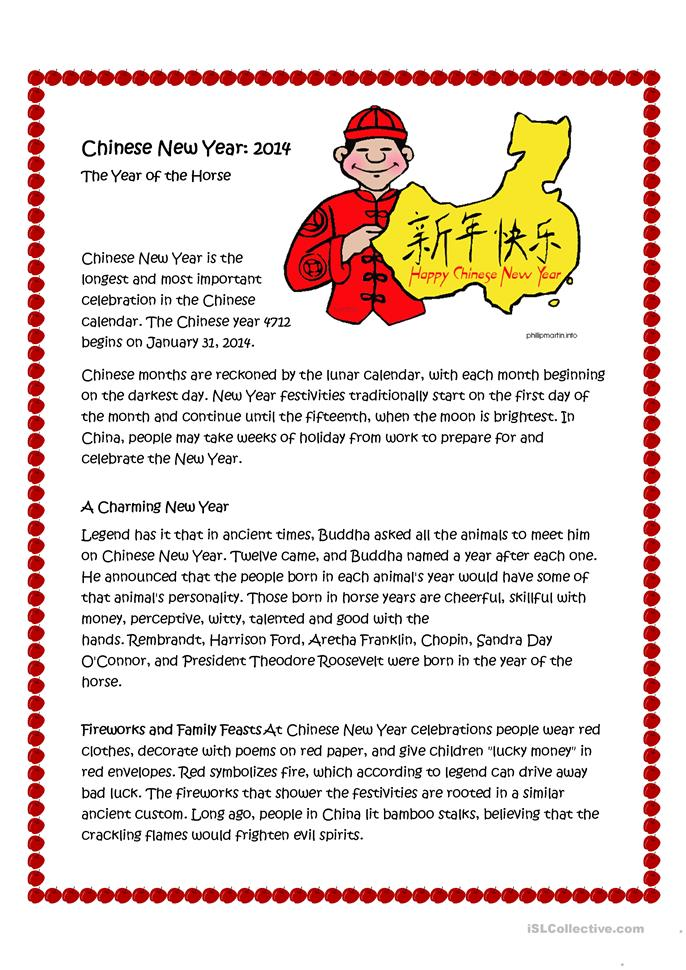 FREE ESL chinese new year worksheets