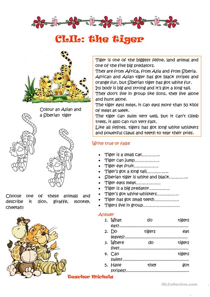 20 FREE ESL tiger worksheets