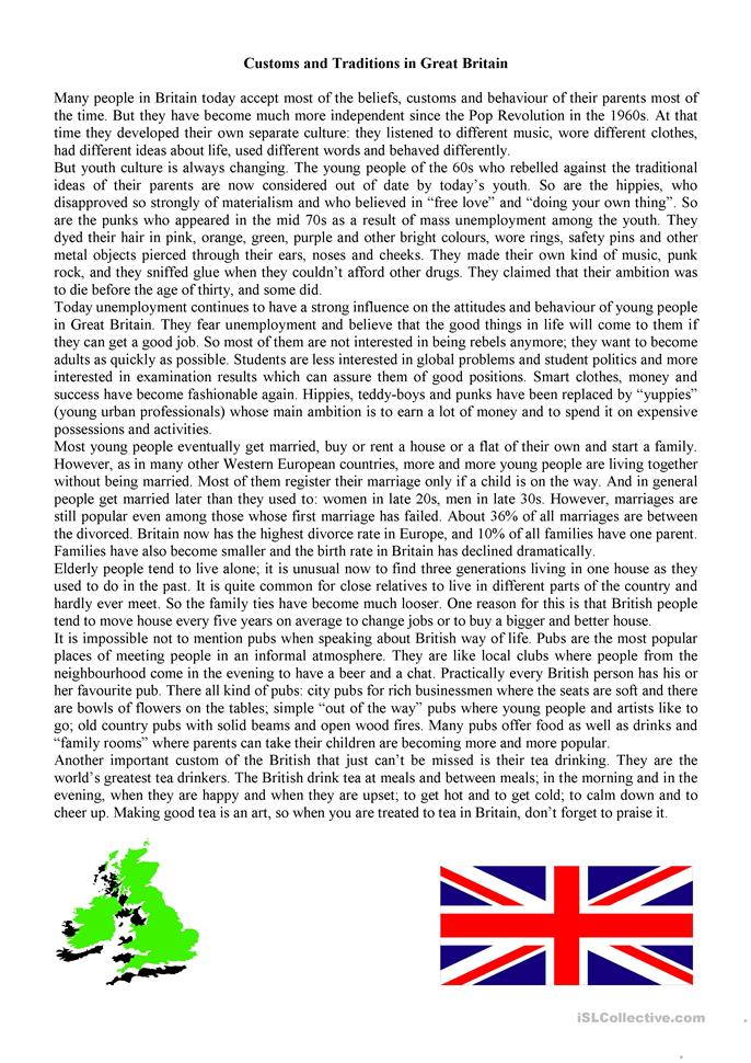 british traditions and customs essay Culture of england - history, people, clothing, traditions, women, beliefs, food, customs, family cr-ga.