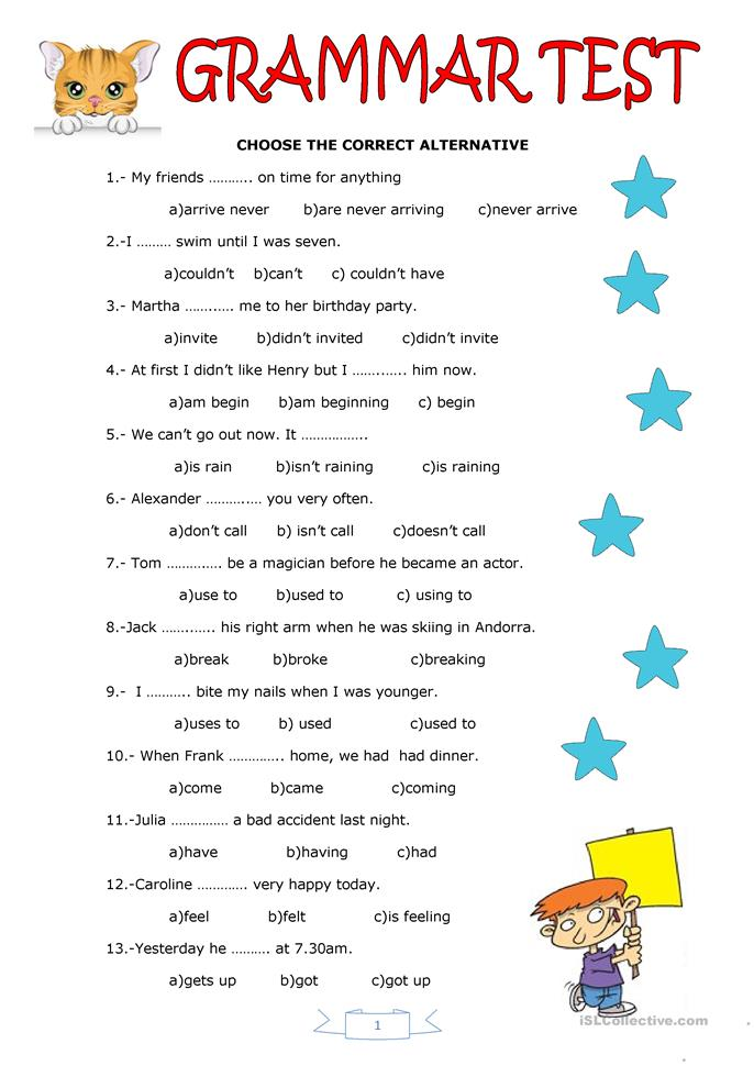 grammar test worksheet free esl printable worksheets made by teachers. Black Bedroom Furniture Sets. Home Design Ideas