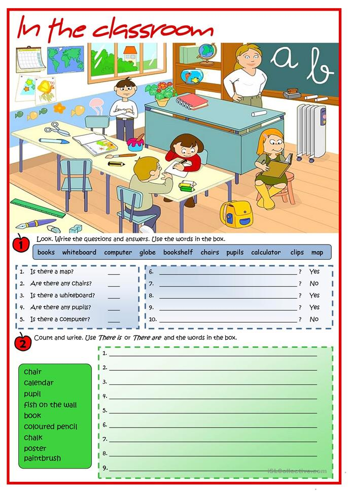 In the classroom - There is / There are worksheet - Free ...