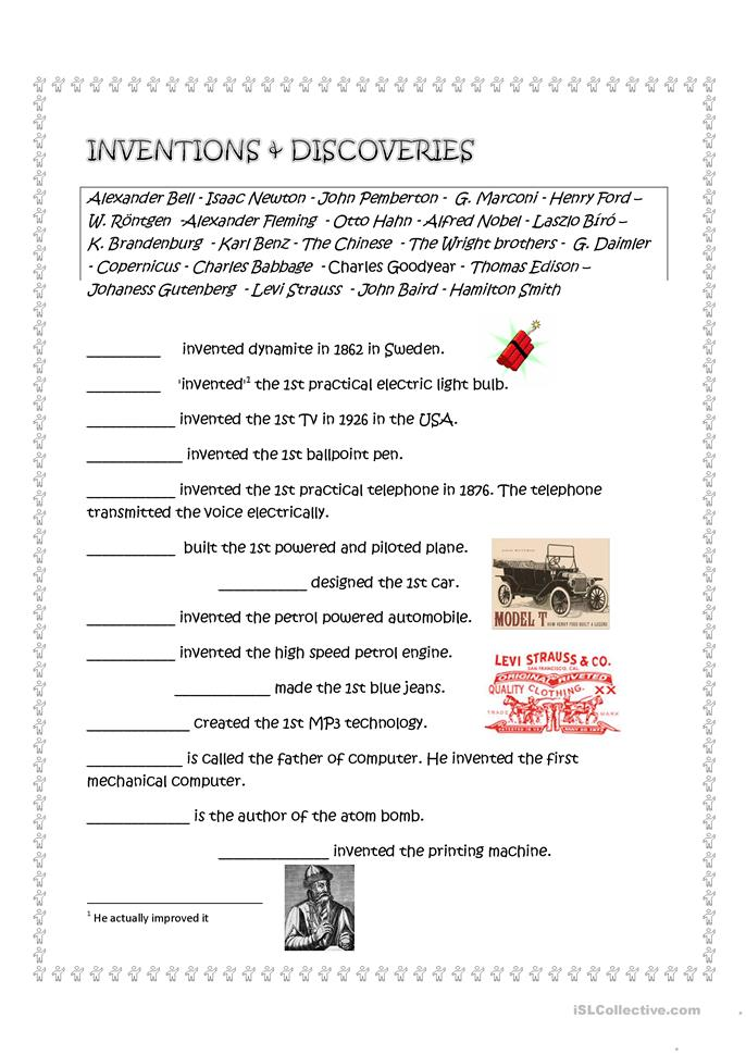 Inventions and discoveries - ESL worksheets