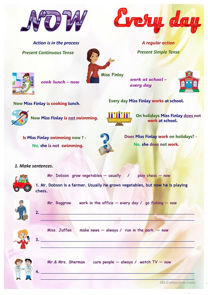 big_65337_jobs_present_simple_vs_continuous_1 Worksheet Present Continuous Tense on second grade, past future, for small kids, for esl, for grade 4, for g1, 4th grade,